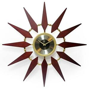 Infinity Instruments Orion 30 inch Mid Century Modern Starburst Wall Clock