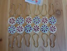 Shower Curtain Hooks Set of 12 REVERSIBLE Floral Buttons Blue White Purple