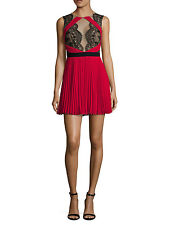 MEMORIAL DAY SALE BCBG MAX AZRIA(2)ARIANNE LACE CONTRAST RED FIT/FLARE DRESSNWT