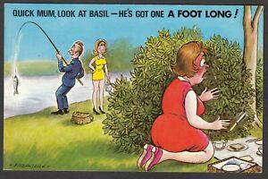 Postcard Bamforth Comic black triangle Number 70 Basil fishing