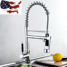 1X Swivel Spout Chrome Brass Kitchen Faucet Dual Sprayer Vessel Sink Mixer Tap