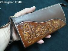 Tang grass long Leather Wallet hand carved pattern leather crafts 皮雕唐草圖案長皮夾手拿皮包
