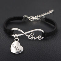 USA 1pc Infinity Love Sister Bracelet Anklet Heart Charm Friendship Sis Jewelry