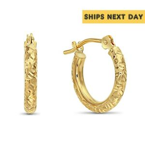 """14k Gold Round Small Hoop Earrings, Hand Engraved """"Tornado Style"""" , 12.5mm"""