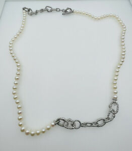 Judith Ripka Sterling Silver White Pearl Long Toggle Necklace