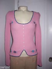 RARE BETSEY JOHNSON SAMPLE PINK EMBROIDERED FLOWERS WOOL SWEATER TOP XS S