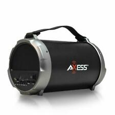 """Axess Bluetooth Hi-Fi Cylinder Loud Speaker with 4"""" Sub + Vibrating Disk - Gray"""