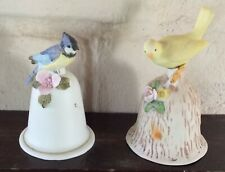 Lot of 2 Brinn's Pgh Bisque Porcelain Hand Bells: Canary & Blue Jay Hand Painted