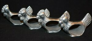 Lot of 4 Pewter Metal Rooster Chicken Farm Napkin Rings Holders
