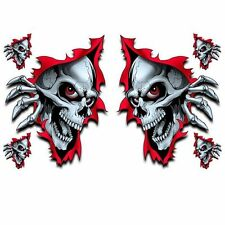 """Lethal Threat Rip Skull Decal Sticker Car SUV Truck Decor 6""""x8"""" US SELLER 2 Pack"""