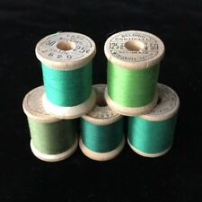 Belding Corticelli Wooden Spools Thread 5 Shades Of Bel-Waxed Green Cotton