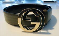 Gucci Gürtel GG - Gr. 85 - Damen / Herren / Unisex - Grün / Gold - Super Zustand
