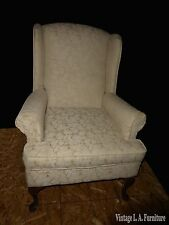 Vintage French Country Beige Floral Design Accent Wingback Arm Chair
