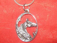 """25MM ANTIQUE SILVER OVAL HORSE HEAD 18"""" SNAKE CHAIN PENDANT CHARM NECKLACE"""