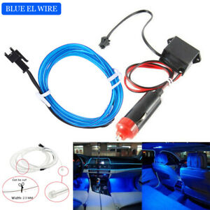 1M Blue Car LED EL Wire Light Strip Interior Atmosphere Glow Neon Lamp Decor 12V