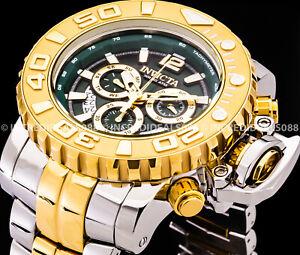 Invicta Men SEA HUNTER GREEN Dial Silver 18Kt Gold 58mm HIGH POLISH Watch 31429