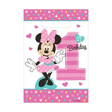 8 Disney Minnie Mouse Fun One 1st Birthday Party Plastic Loot Treat Favor Bags