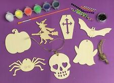 Paint Your Own Halloween Wooden Decorations Kids Craft Kit ~ Trick or Treat Gift