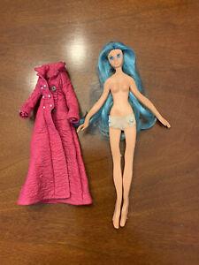 "Vtg. Ideal Fashion Flatsy 8"" Doll Dale w/ Blue Hair & Eyes Coat 1969 Bendable"
