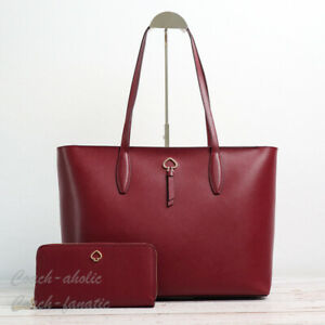 NWT Kate Spade Adel Large Leather Tote And/Or Continental Wallet in Cherrywood