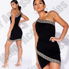 Ladies Black Greek Key Trim Aztec One Shoulder Bodycon Dress Mini Summer Party