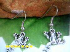 Tibetan Silver Frog Dangle Earrings/Sterling Silver Hooks/ U.S Seller!