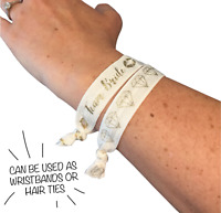 Hen Party Favours Wristbands / Hair ties - Team Bride Pack of 5 White and Gold