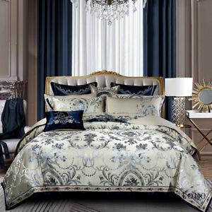 Blue Color Luxury Bedding Sets Queen King Duvet Cover Bedspread Sheet Set 10Pcs