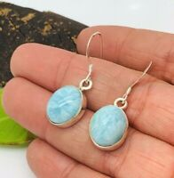 Authentic Dominican Larimar Earrings .925 Sterling Silver Oval Stones P55
