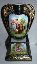 Victorian Austria Verde Coburg Mark Glazed Gild Porcelain Double Handled Vase