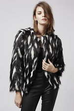 BNWT TOPSHOP SIZE 8-10 FAUX FUR SHAGGY JACKET BLACK OFF WHITE WOMENS COAT LADIES