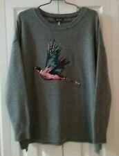 Joules Knitwear Wool Womens Sweater Size 14 Heather Grey New