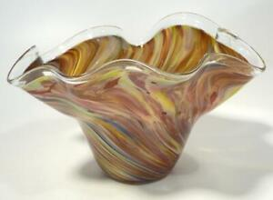 HAND BLOWN GLASS FLUTED ART BOWL, DIRWOOD, END OF DAY GOLD & SPARKLES, n3579