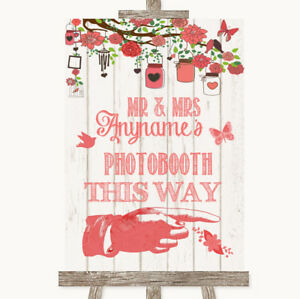 Wedding Sign Poster Print Coral Rustic Wood Photobooth This Way Right