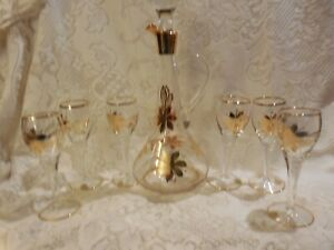 Vintage Gold on Crystal Sherry Wine Decanter Carafe Set made in Romania 1970s