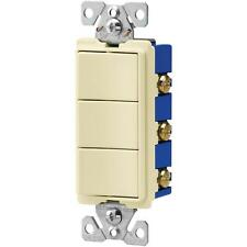 NEW Decorator 7729A 3 Single Pole Switches, Combination Switch  15 AMP, Almond