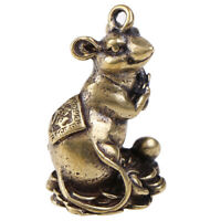 1pc Chinese Copper Rat Hanging Trinket Carved Zodiac Animal Blessing Mouse FT