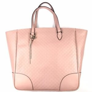 Gucci #449242 Borsa Micro-GG Large Pink Leather Zip Top Tote, NWT