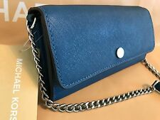NWT MICHAEL KORS JET SET TRAVEL LEATHER WALLET PURSE ON A CHAIN-STEEL BLUE