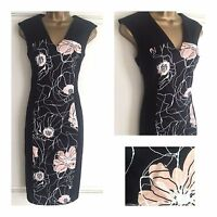 NEW EX M&S IVORY PEACH BLACK FLORAL INSERT OCCASION PARTY DRESS SIZE 8 - 22