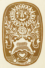 H. SEYFERT - Kinderwiege und Sonne - Glückwunsch zur Geburt - Holzschnitt 1960