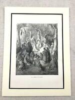 Antico Stampa Gesù Cristo Sermon Su The Mount Vittoriano Originale Christian Art