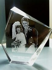 PERSONALIZED LARGE CRYSTAL LASER PHOTO PICTURE WEDDING GRANDMA -DAD FAMILY KIDS