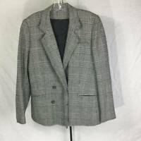 Peabody House Womens Houndstooth Skirt Suit  Gray Wool Blend Vintage 13/14