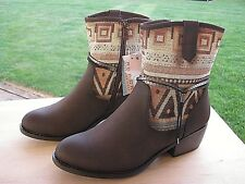 ROPER Faux Leather Shoe Shorty Boot Brown Vamp & Aztec Tapestry Shaft Size 7