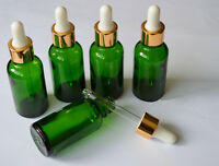 5pcs 30ml Green Glass Bottle w/Dropper with Cap Essential Oil Storage Bottles
