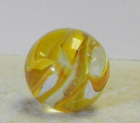 #12496m Vintage Likely Vitro Agate Hybrid Cat's Eye Shooter Marble .88 Inches