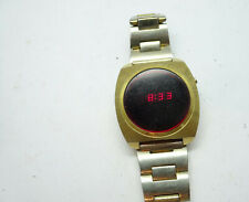 SQUARE WINDERT CASE RED LED WATCH RUNS FOR REPAIR OR PARTS DAY DATE SECONDS TIME