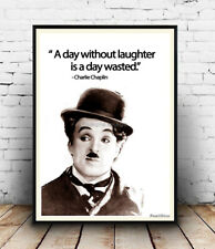 A day without laughter :  Words related to Charlie Chaplin Quote artwork, Poster