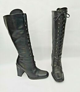 DUNE BLACK LEATHER LACE UP FRONT SQUARE TOE KNEE HIGH BOOTS EU38 UK5 FREE UK P&P